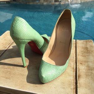 Christian Louboutin Mint Green Python Heel Shoes